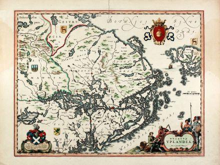 Antike Landkarten, Blaeu, Skandinavien, Schweden, Uppland, 1645: Ducatus Uplandia. Joh. et Cornelius Blaeu exc.