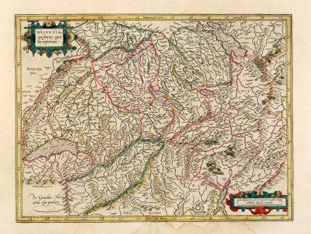 Antike Landkarten, Mercator, Schweiz, 1628: Helvetia cum finitimis regionibus confoederatis.