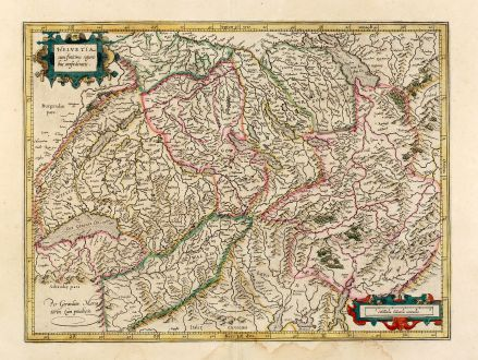 Antique Maps, Mercator, Switzerland, 1628: Helvetia cum finitimis regionibus confoederatis.