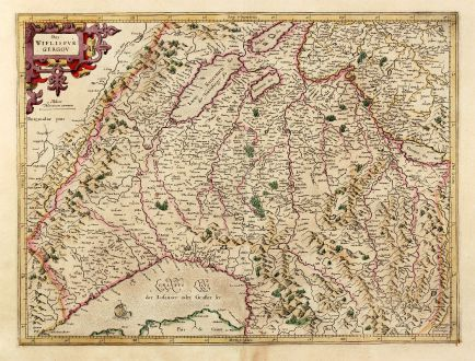 Antike Landkarten, Mercator, Schweiz, Neuenburgersee, Genfersee, Thunersee, 1628: Das Wiflispurgergou