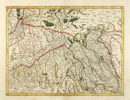 Antike Landkarten, Mercator, Schweiz, Zürich, Basel, 1628: [Zurichgow]