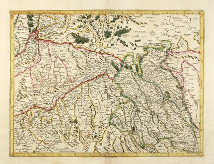 Antique Maps, Mercator, Switzerland, Zurich, Basel, 1628: [Zurichgow]