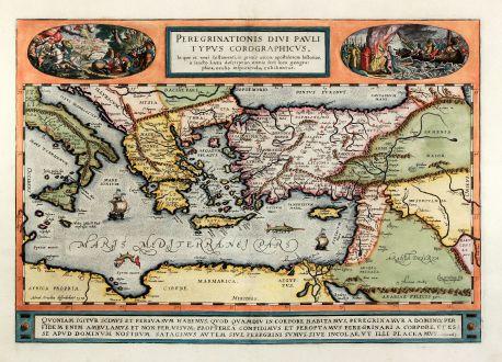 Antike Landkarten, Ortelius, Mittelmeer, Sizilien, Zypern, Türkei, Israel, 1592: Peregrinationis divi Pauli typus corographicus.