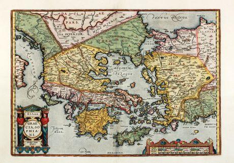 Antike Landkarten, Ortelius, Griechenland, Peloponnes, Ägäis, Kreta, Kleinasien: Hellas. Graecia, Sophiani.