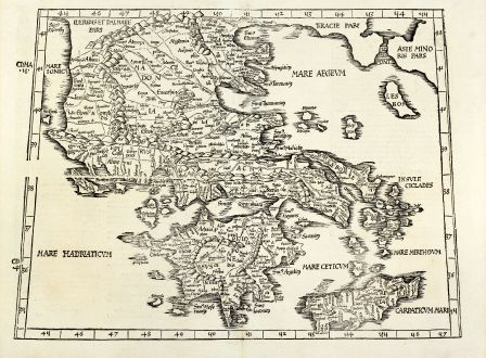 Antique Maps, Fries, Greece, 1525: [Tabula X Europae]