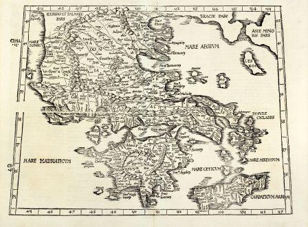 Antike Landkarten, Fries, Griechenland, 1525: [Tabula X Europae]