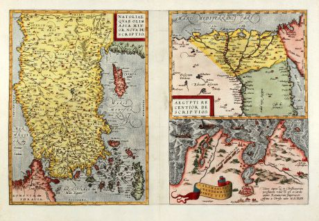 Antique Maps, Ortelius, Turkey, Turkey, Cyprus, Egypt, Tunis, 1570: Natoliae, quae olim Asia Minor Nova Descriptio - Aegypti Recentior Descriptio - Carthaginis Celeberrimi Sinus Typus