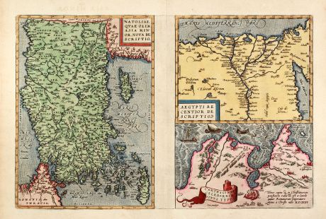 Antique Maps, Ortelius, Turkey, Turkey, Cyprus, Egypt, Tunis, 1595: Natoliae, quae olim Asia Minor Nova Descriptio - Aegypti Recentior Descriptio - Carthaginis Celeberrimi Sinus Typus