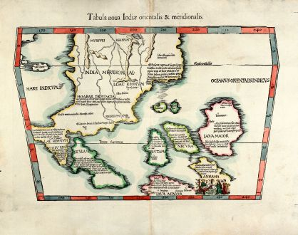 Antique Maps, Fries, Southeast Asia, Indonesia, Singapore, Malaysia, Thailand: Tabula noua Indiae orientalis & meridionalis.