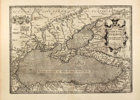 Antique Maps, Ortelius, Russia, Black Sea, Ukraine, Crimea, 1603: Pontus Euxinus