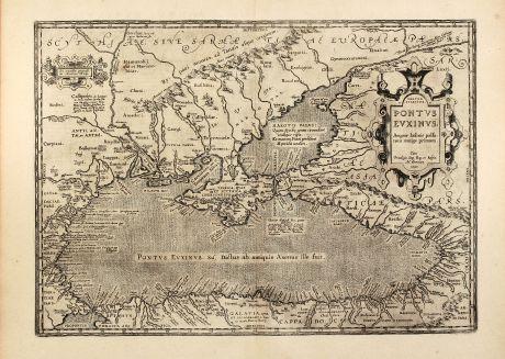 Antike Landkarten, Ortelius, Russland, Schwarzes Meer, Ukraine, Krim, 1603: Pontus Euxinus