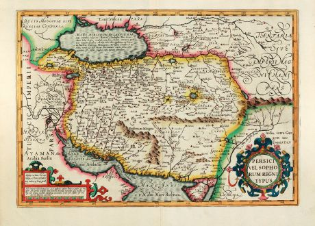 Antique Maps, Mercator, Middle East, Iran, Caspian Sea, Persian Gulf, 1628: Persici vel Sophorum Regni typus