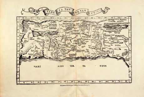 Antique Maps, Fries, Holy Land, Israel, Palestine, 1535: Tabula Terre Sanctae