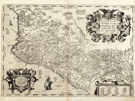 Antique Maps, Ortelius, Central America - Caribbean, Pacific, Mexico, 1579: Hispaniae novae sivae magnae, recens et vera descriptio. 1579.