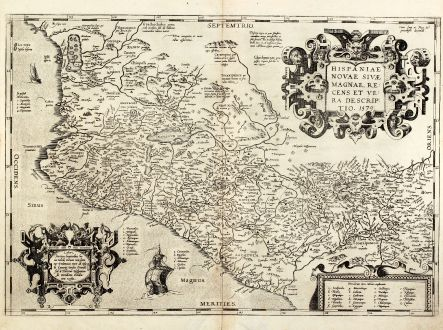 Antike Landkarten, Ortelius, Mittelamerika - Karibik, Pazifik, Mexiko, 1579: Hispaniae novae sivae magnae, recens et vera descriptio. 1579.