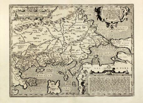 Antike Landkarten, Ortelius, Türkei, Griechenland, Istanbul, Bosporus, Marmarameer: Thraciae veteris typus