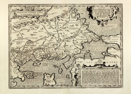 Antique Maps, Ortelius, Turkey, Greece, Istanbul, Bosporus, Sea of Marmara: Thraciae veteris typus