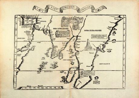 Antike Landkarten, Fries, Indien, 1535: Tabu. moder. Indiae
