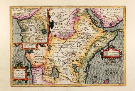 Antike Landkarten, Mercator, Afrika Kontinent, Zentralafrika, Kongo, Priester Johannes: Abissinorum sive Pretiosi Ioannis Imperiu