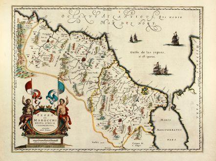 Antike Landkarten, Blaeu, Nordafrika, Marokko, 1640: Fezzae et Marocchi regna Africae celeberrima