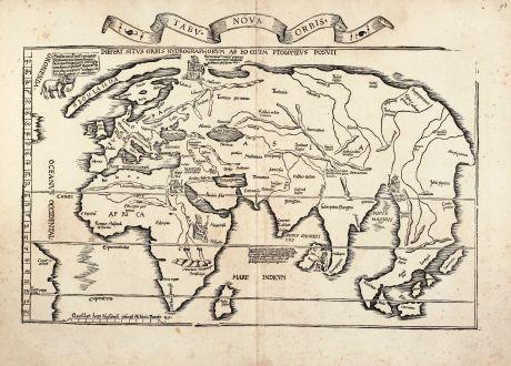 Antike Landkarten, Fries, Weltkarten, 1535: Tabu. Nova Orbis / Diefert Situs Orbis Hydrographorum Ab Eo Quem Ptolomeus Posuit