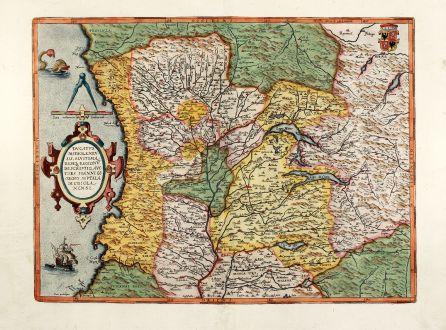 Antike Landkarten, Ortelius, Italien, Mailand, Milano, 1592: Ducatus Mediolanensis, Finitimarumq Regionu Descriptio Auctore Iooanne Georgio Septala Mediolanense