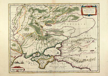 Antike Landkarten, Blaeu, Russland, Ukraine, Krim, 1640: Taurica Chersonesus, Nostra aetate Przecopsca et Gazara dicitur.