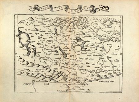 Antique Maps, Fries, Switzerland, 1535: Tabu. Nova Helvetiae