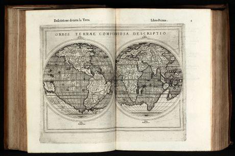 Atlases, Ruscelli, Ptolemy Geografia, 1598-99: Geografia di Claudio Tolomeo Alessandrino Tradotta di Greco nell'Idioma Volgare Italiano da Girolamo Ruscelli