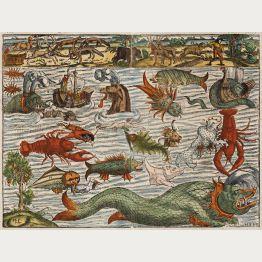 Alte Landkarten mit Seeungeheuern